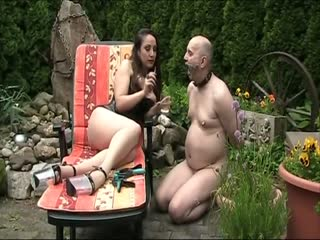Smoking femdom with her naked human ashtray