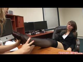 Office foot worshipping session