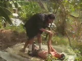 Slave humiliation in the forest from two teen dommes