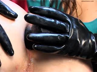 Tight asshole ruined from a black gloves mistress