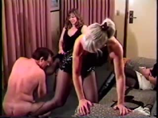Femdom party  with one male servant