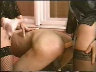 Classic strapon fucking by two mistress