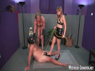 He is dominated by two gorgeous mistress