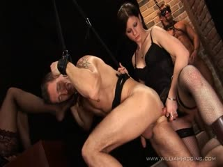 Mouth and ass strapon fucked domination