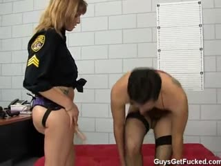 Cross dressed sub penetrated with strapon in the ass