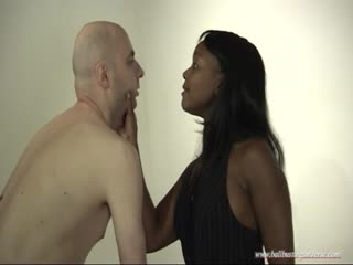 Black femdom interrogating a bald headed man