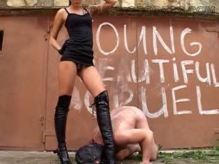 Evil young goddess torment slave outdoors