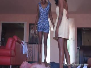 Teaching friend trample stupid slave