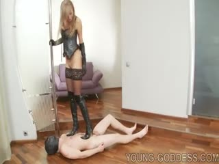 Blonde femdom goddess abused and used her slave