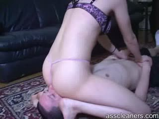 Ass in sexy thong smothering a man