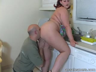 Seductive BBW bald man ass worshiper