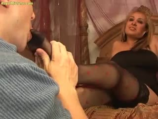 Royal mistress in black stocking worship by slave