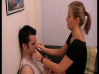 Spoiled girlfriend maltreating her submissive lover
