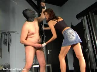 Worthless cock tormented in the dungeon