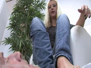 Vicious blonde mistress foot worshiping domination