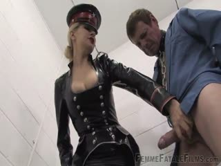Femdom police officer in charge to sanction a bad male captive