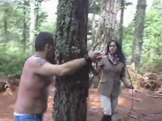 Shameless whipping in the forest