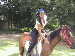 Horseback training of fetish brunette