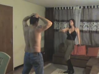 Cruel wife whipping her sub husband