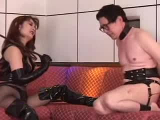 Japanese dominatrix unhuman treatment to her slave