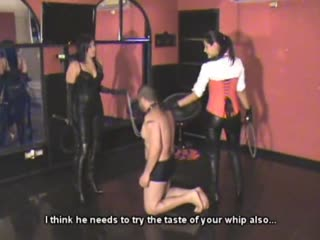 Bull whipping break for two playful mistress