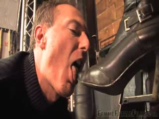 Pervert man punished with mistress boots