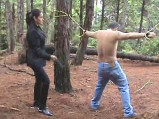 Extreme bull whipping in the forest