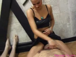 Blonde femdom abusing two slave's at a time