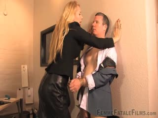 Hard domination in the office by a blonde boss