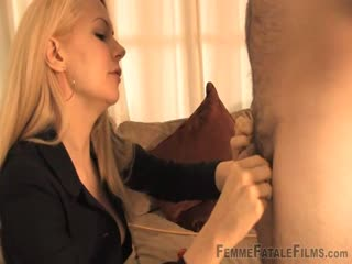 Forced orgasm from a dominant blonde mistress