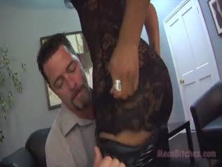 Gorgeous brunette smothering husband with her delicious pussy