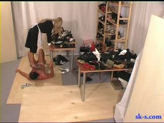 Cruel bitch maid use her steel stiletto to trample her boss