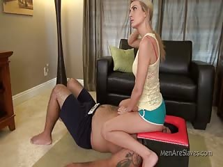 Just watching tv while humiliating slave