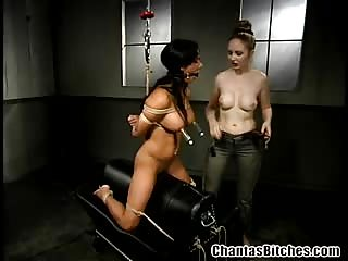 Seductive babe gets tied in nasty lesbian BDSM bondage