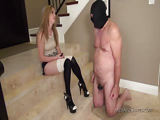 Tormenting her worthless slave