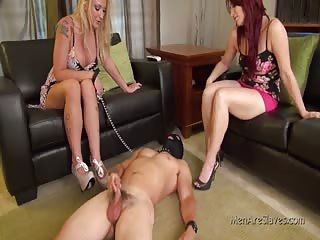Slave want to cum in front of his two mistresses