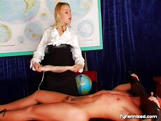 Fetish blonde freak sadistically dominating a guy