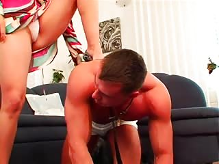 Horny MILF with a sub muscled man