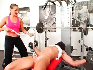 Femdom gym instructor attacks sub man
