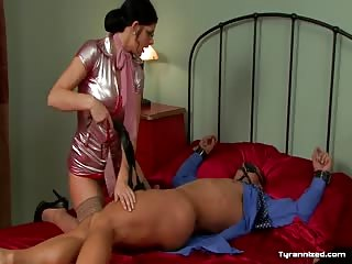 Luscious bitch maid dominated bound man