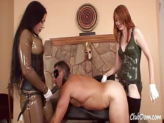 Spit roasted with mistresses strapon