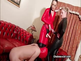 Bad slave caught by his two cruel mistress