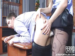 Blonde strapon boss pegging her employee in the office