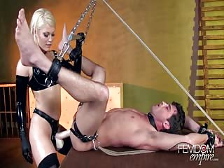 Blonde strapon mistress ass fucking punishment