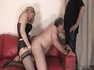 Blonde Mistress destroying an old geezer ass