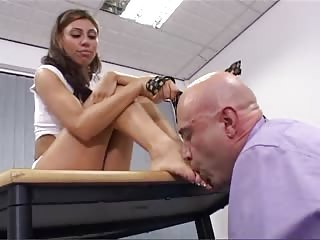Foot worshiping domination to her lover