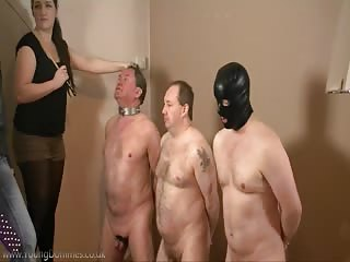Three male slaves kneel down ready to accept mistress punishment