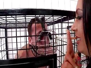 Human ashtray cage slave
