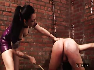 Exquisite mistress destroying his ass