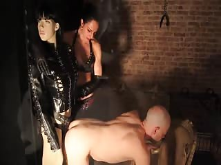 The strapon femdom old male slave